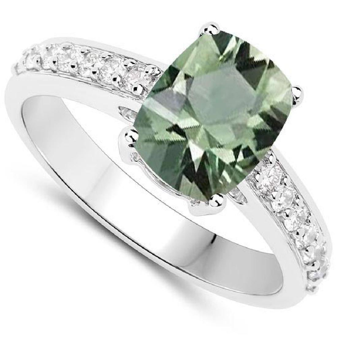 Certified 4.64 CTW Genuine Green Amethyst And Diamond 1
