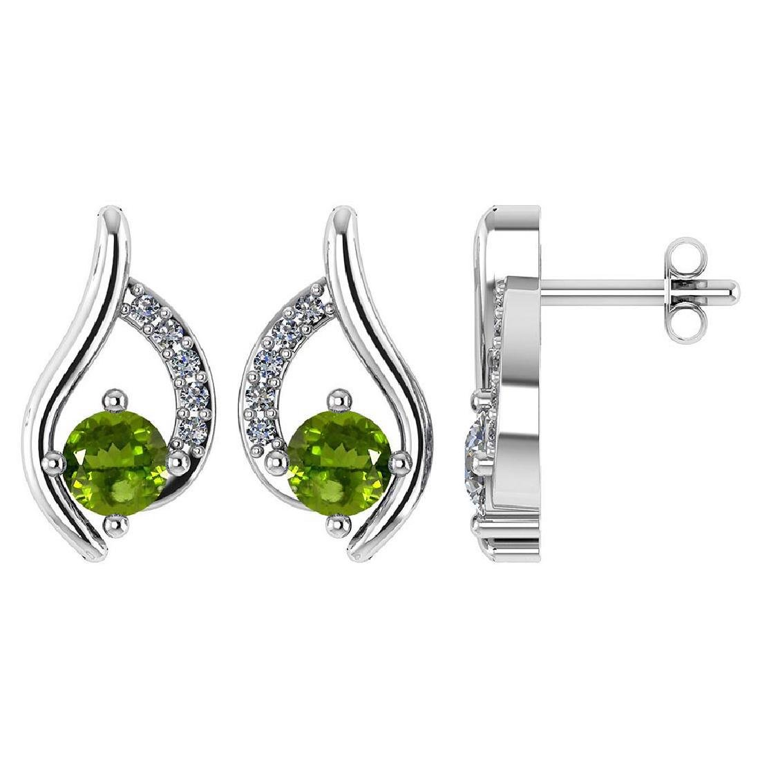 Certified .51 CTW Genuine Peridot And Diamond (G-H/SI1-