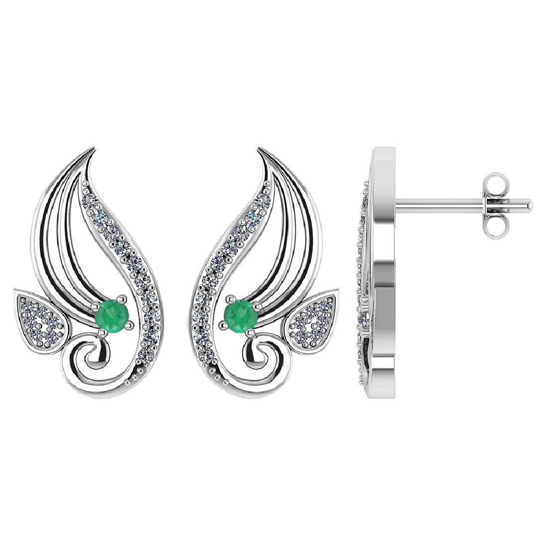 Certified .26 CTW Genuine Emerald And Diamond 14K Yello