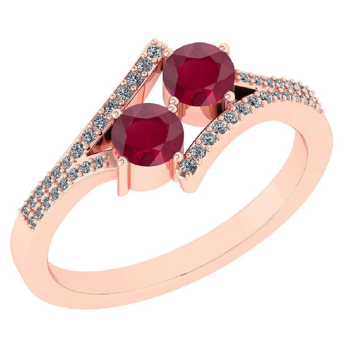Certified 1.06 Ctw Genuine Ruby And Diamond 14k Rose Go