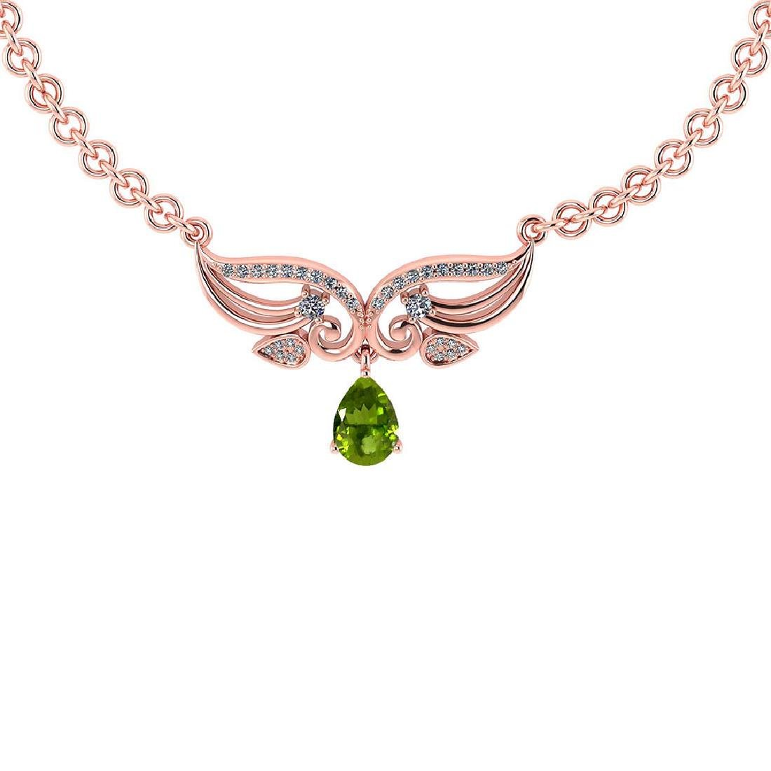 Certified 3.94 Ctw Genuine Peridot And Diamond 14k Rose