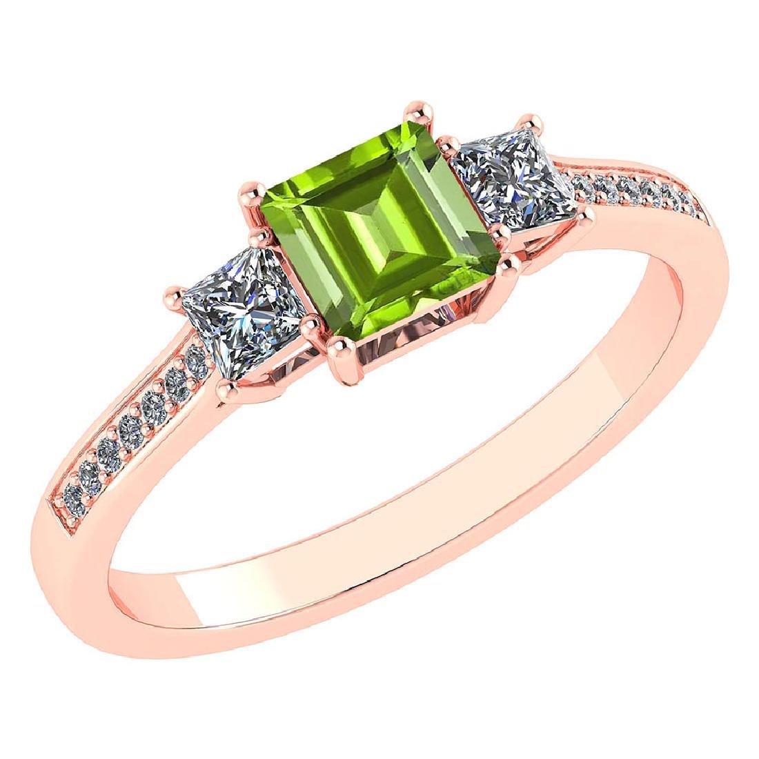 Certified 1.18 CTW Genuine Peridot And Diamond 14K Rose