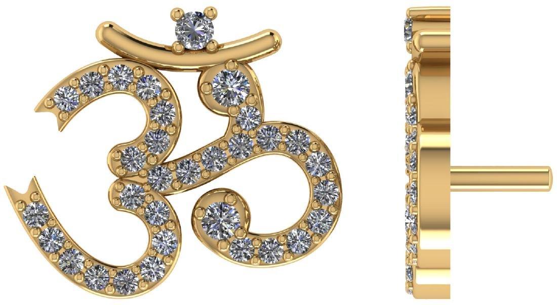 Certified .60 CTW Round Diamond 14K Yellow Gold Earring