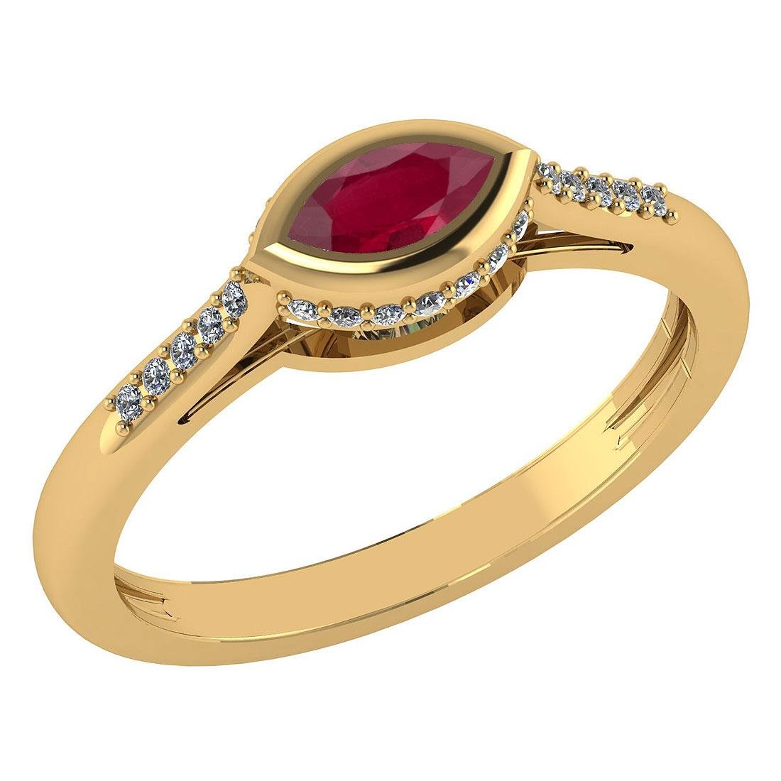 Certified 0.38 Ctw Ruby And Diamond 14k Yellow Gold Hal