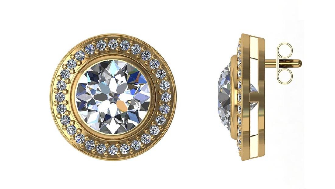 Certified 2.00 CTW Round Diamond 14K Yellow Gold Earrin