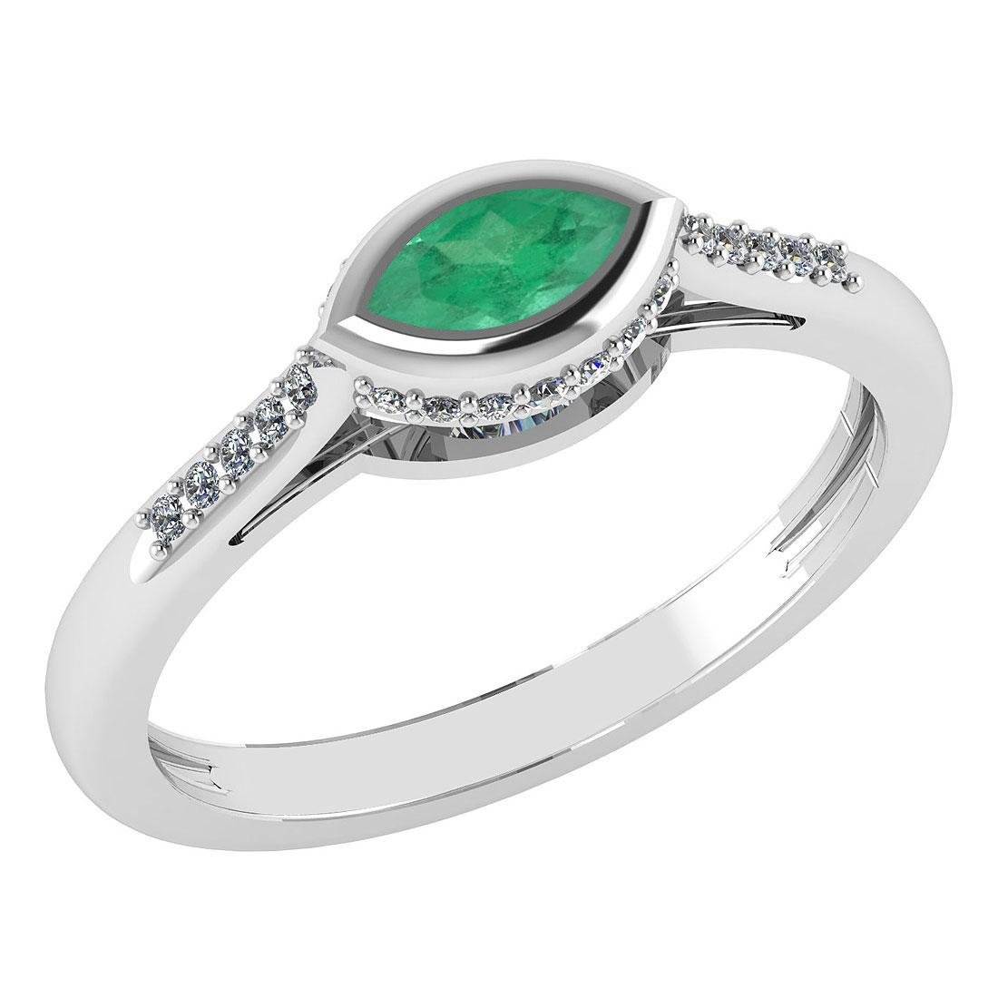 Certified 0.38 Ctw Emerlad And Diamond 14k White Gold H