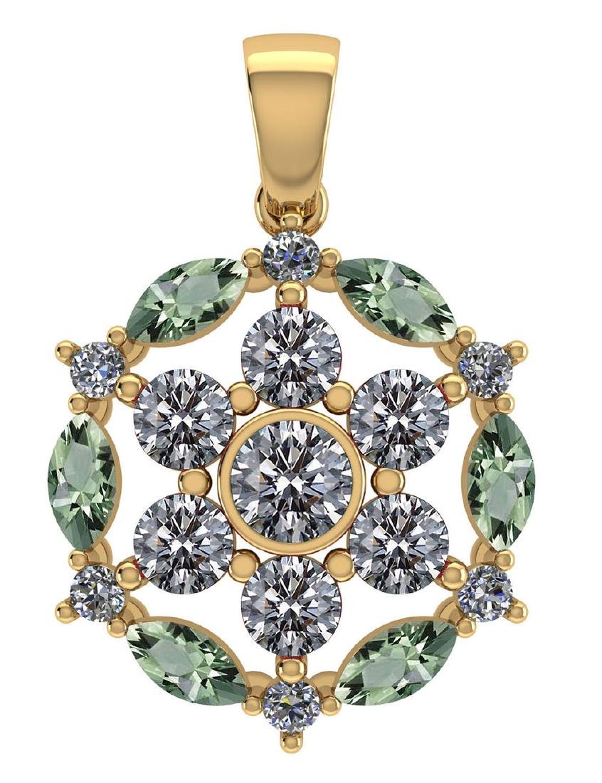 Certified 1.30 CTW Genuine Green Amethyst And Diamond 1