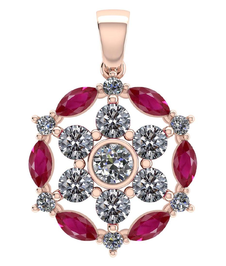 Certified 1.30 CTW Genuine Ruby And Diamond 14K Rose Go