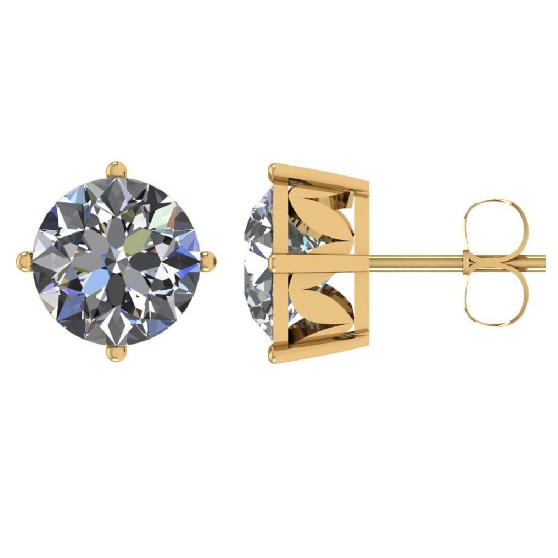 Certified 1.00 CTW Round Diamond 14K Yellow Gold Earrin