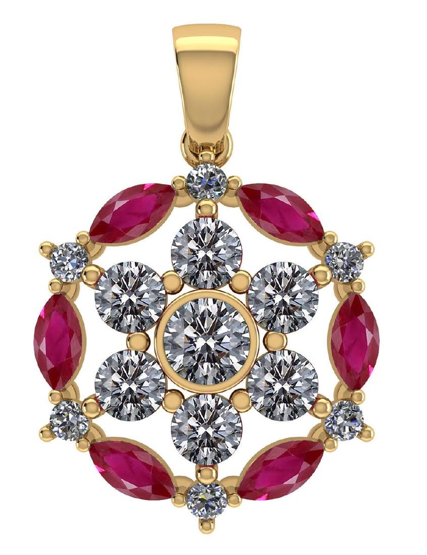 Certified 1.30 CTW Genuine Ruby And Diamond 14K Yellow