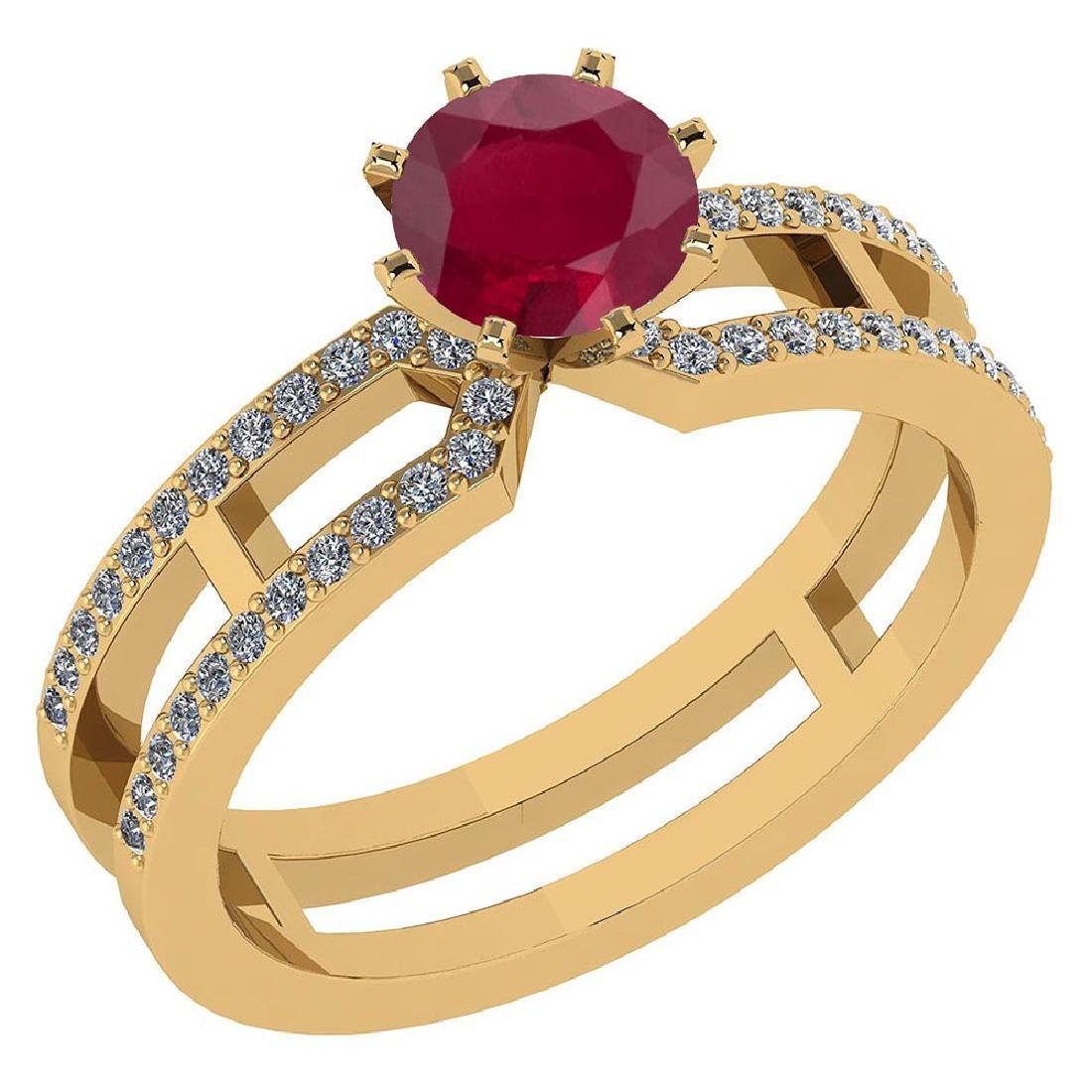Certified 1.32 Ctw Genuine Ruby And Diamond 14k Yellow