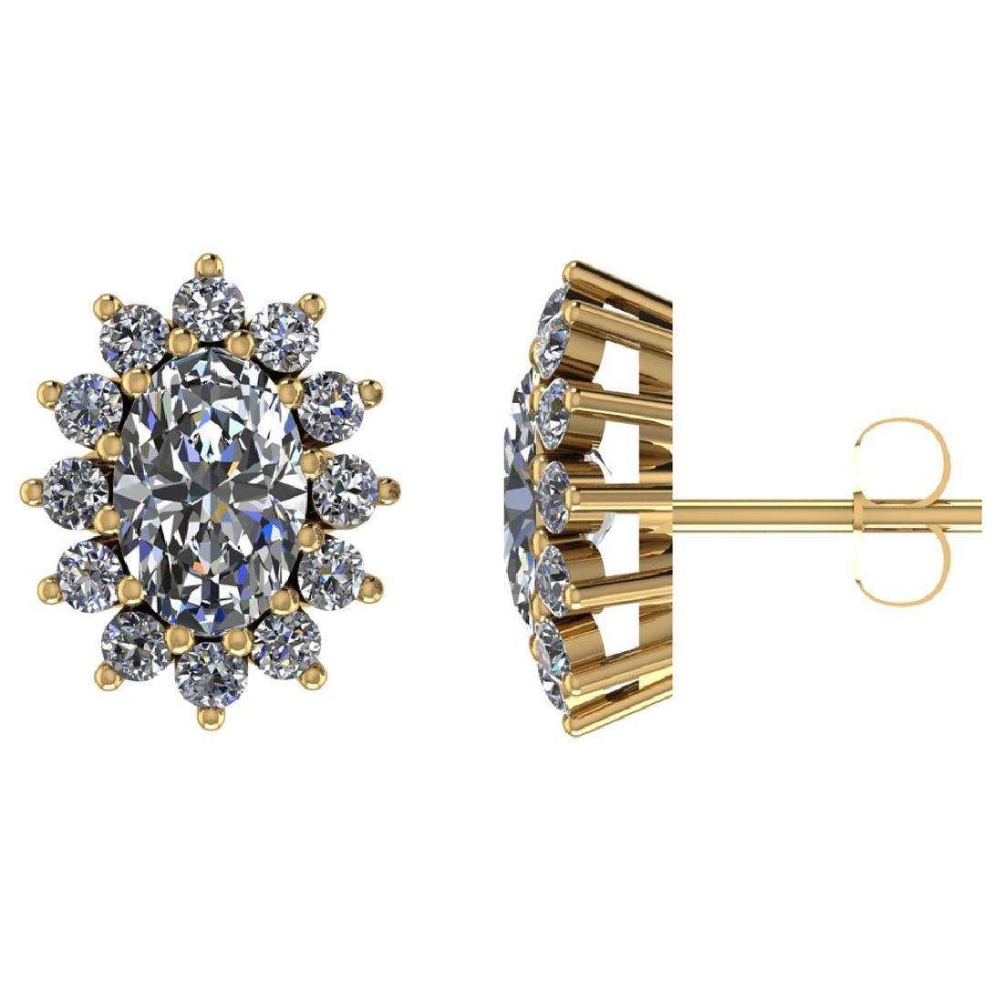 Certified 1.50 CTW Round Diamond 14K Yellow Gold Earrin
