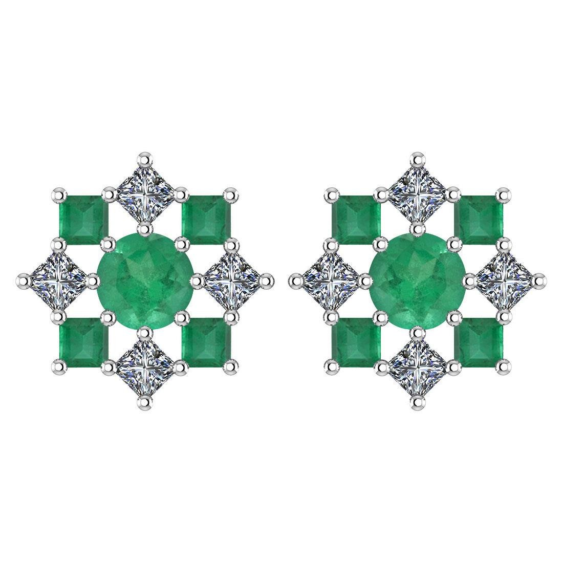 Certified 1.46 Ctw Emerald And Diamond 14k White Gold H