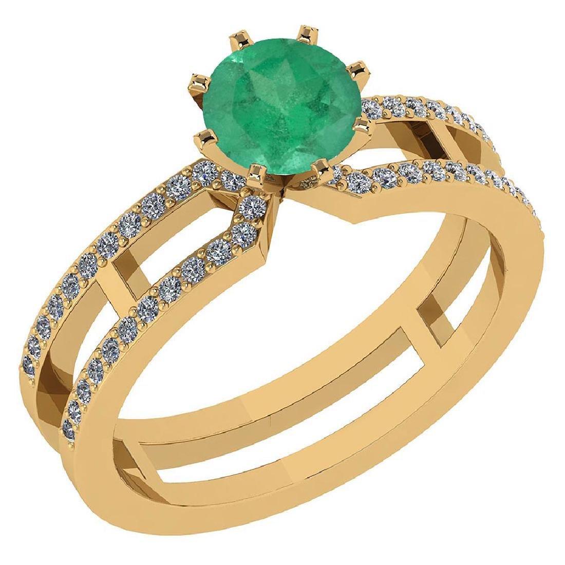 Certified 1.32 Ctw Genuine Emerald And Diamond 14k Yell