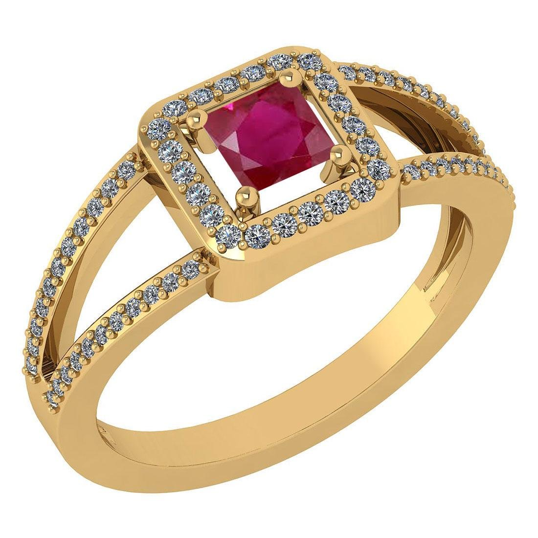 Certified 0.61 Ctw Ruby And Diamond 14k Yellow Gold Hal