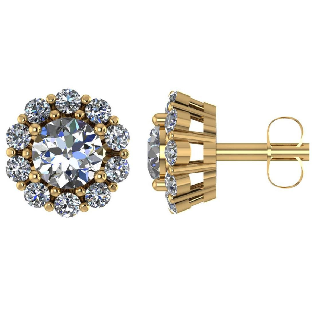 Certified 1.90 CTW Round Diamond 14K Yellow Gold Earrin