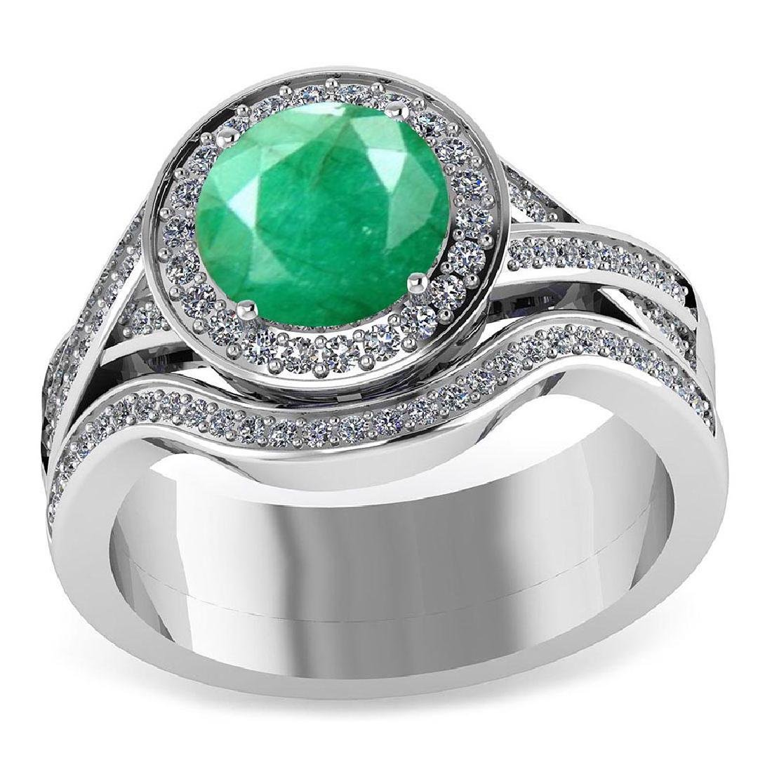 Certified 2.05 CTW Genuine Emerald And Diamond 14K Whit