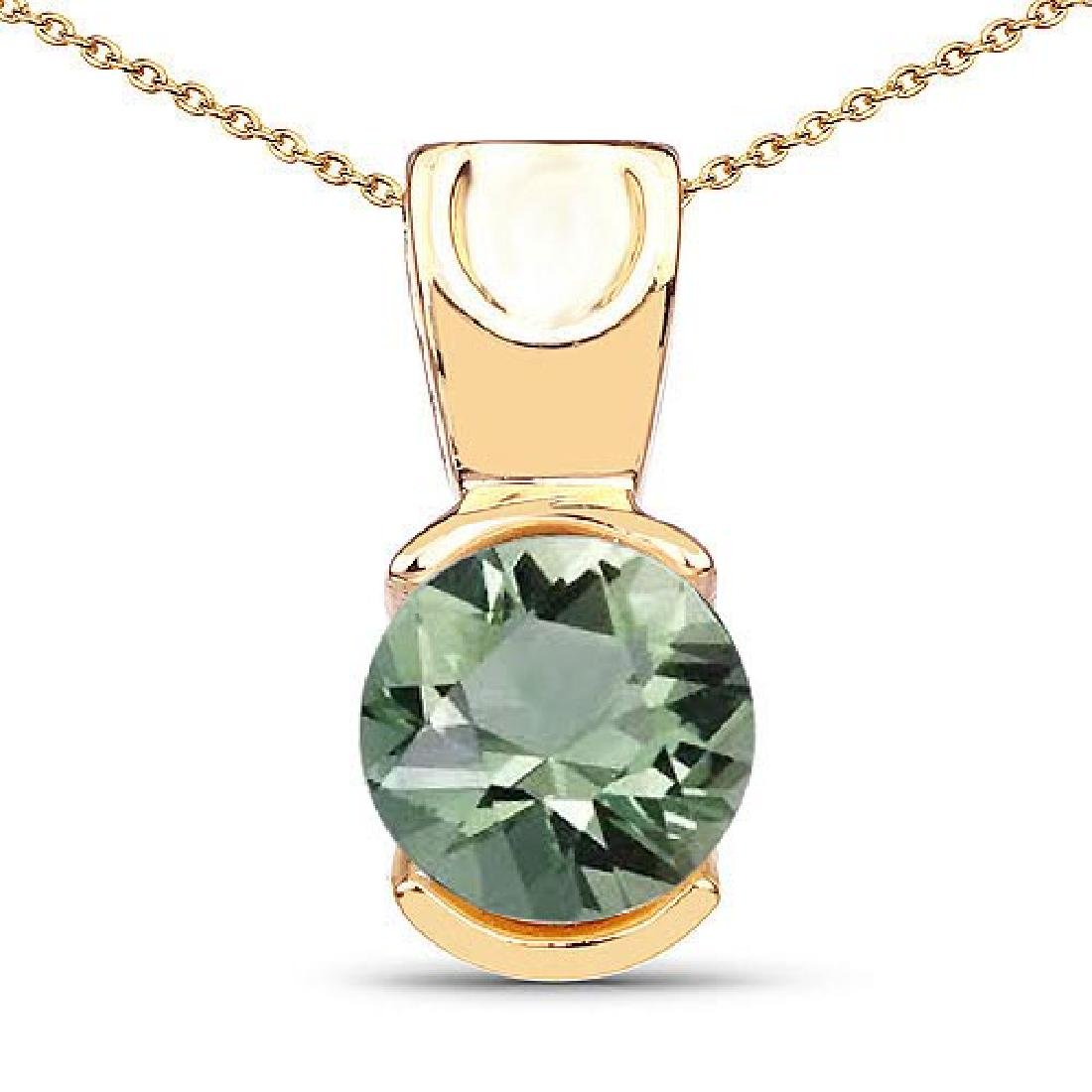 Certified 1.20 CTW Genuine Green Amethyst 14K Yellow Go