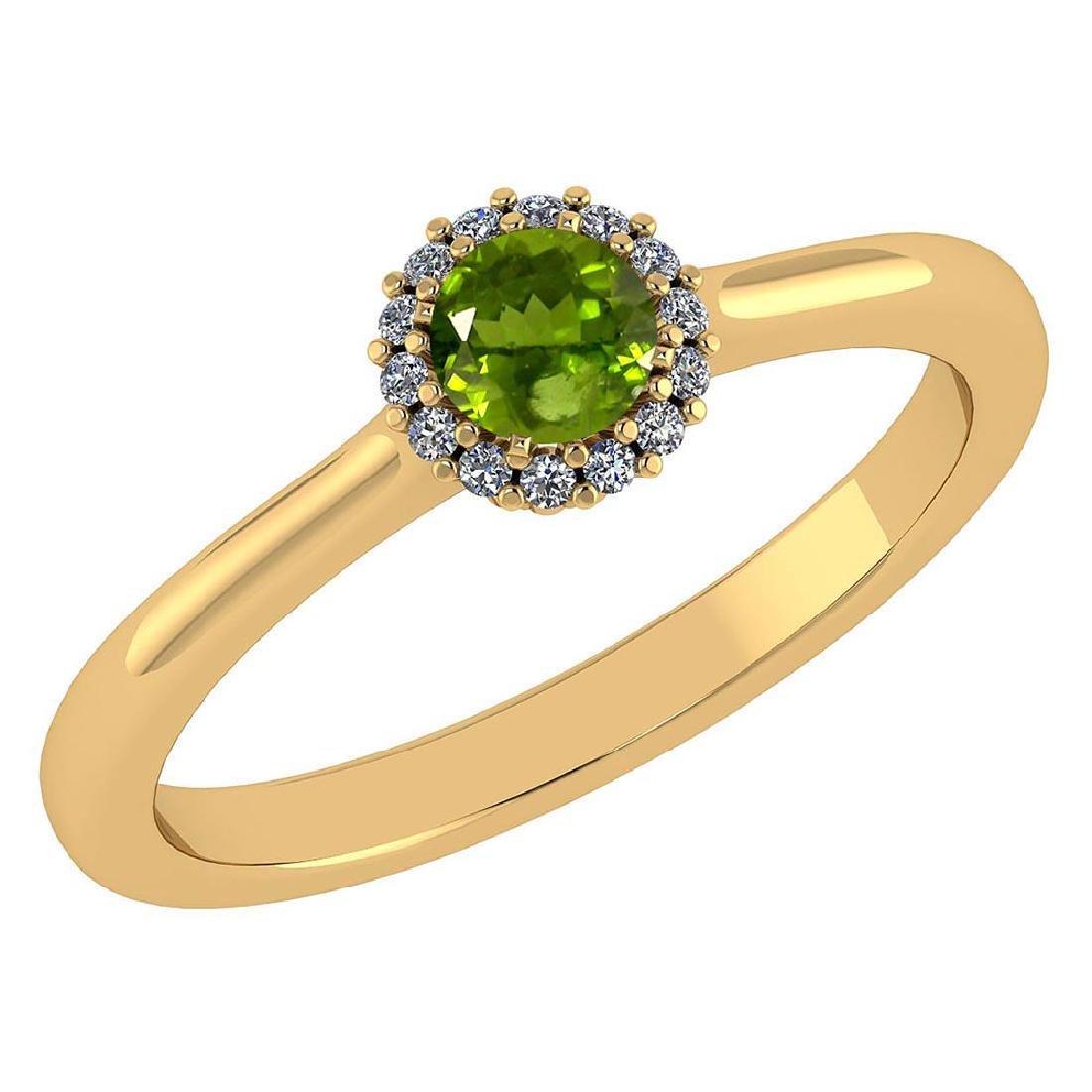 Certified 0.52 Ctw Peridot And Diamond 14k Yellow Gold