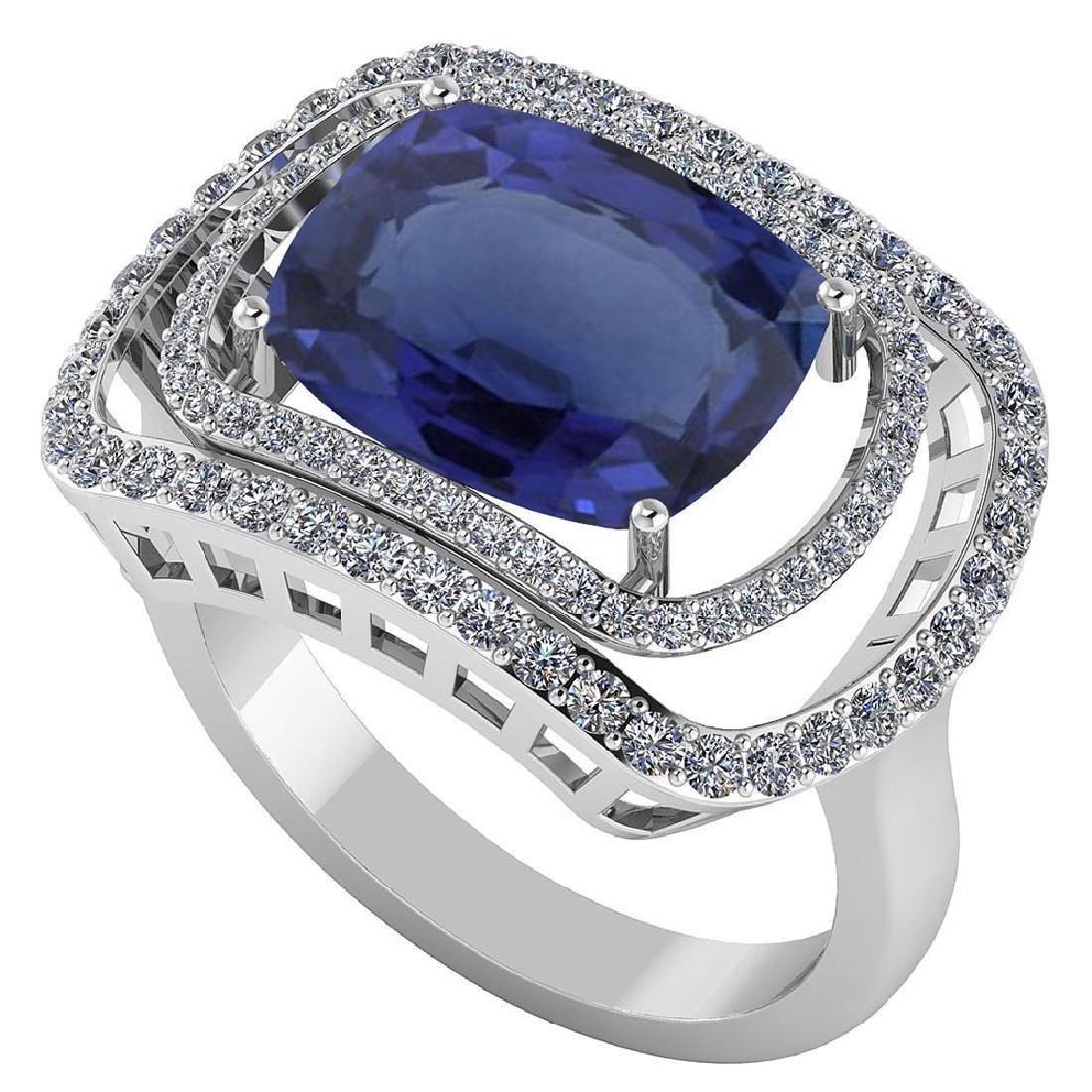 Certified 3.84 CTW Genuine Blue Sapphire And Diamond 14