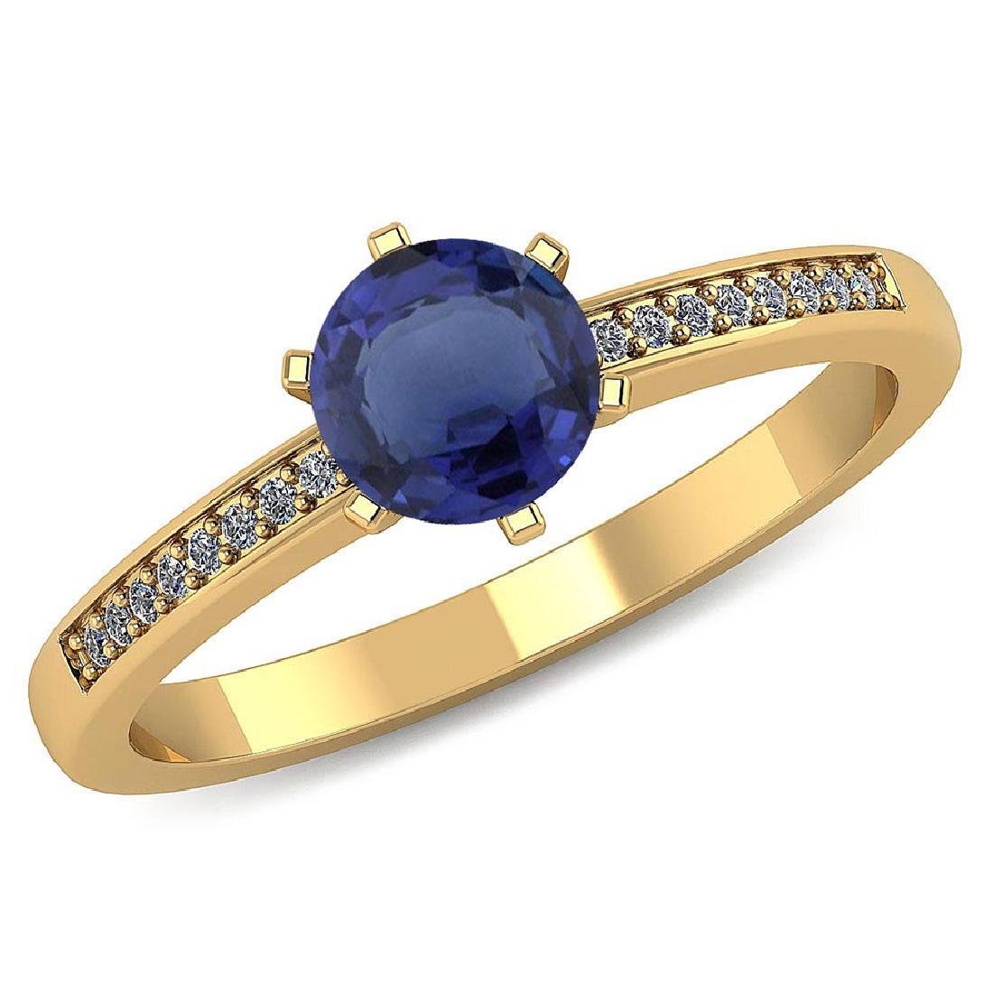 Certified 1.00 CTW Genuine Blue Sapphire And Diamond 14