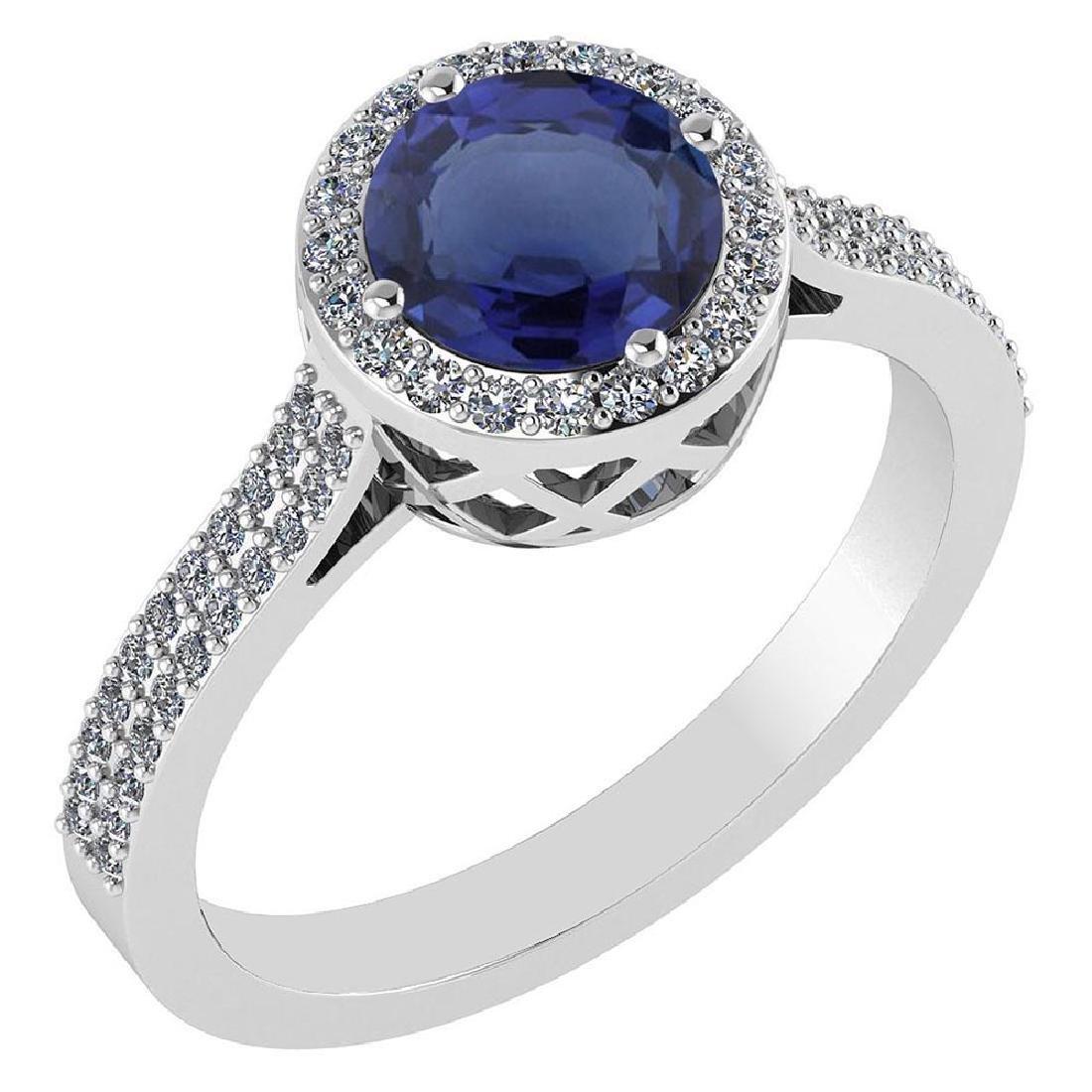 1.77 Ctw Blue Sapphire And Diamond 14k White Gold Halo