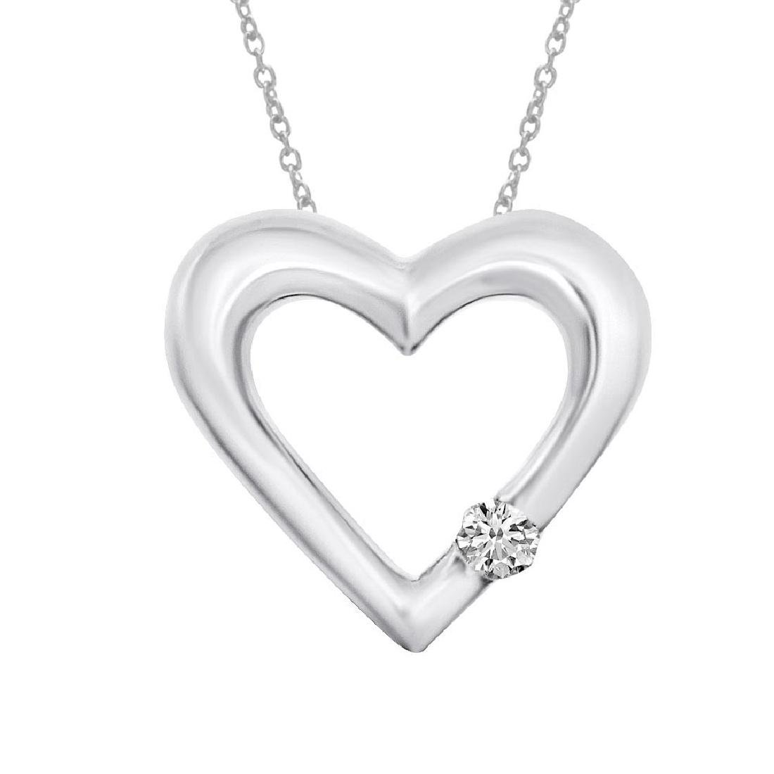 Certified 14K White Gold Diamond Heart Pendant 0.07 CTW