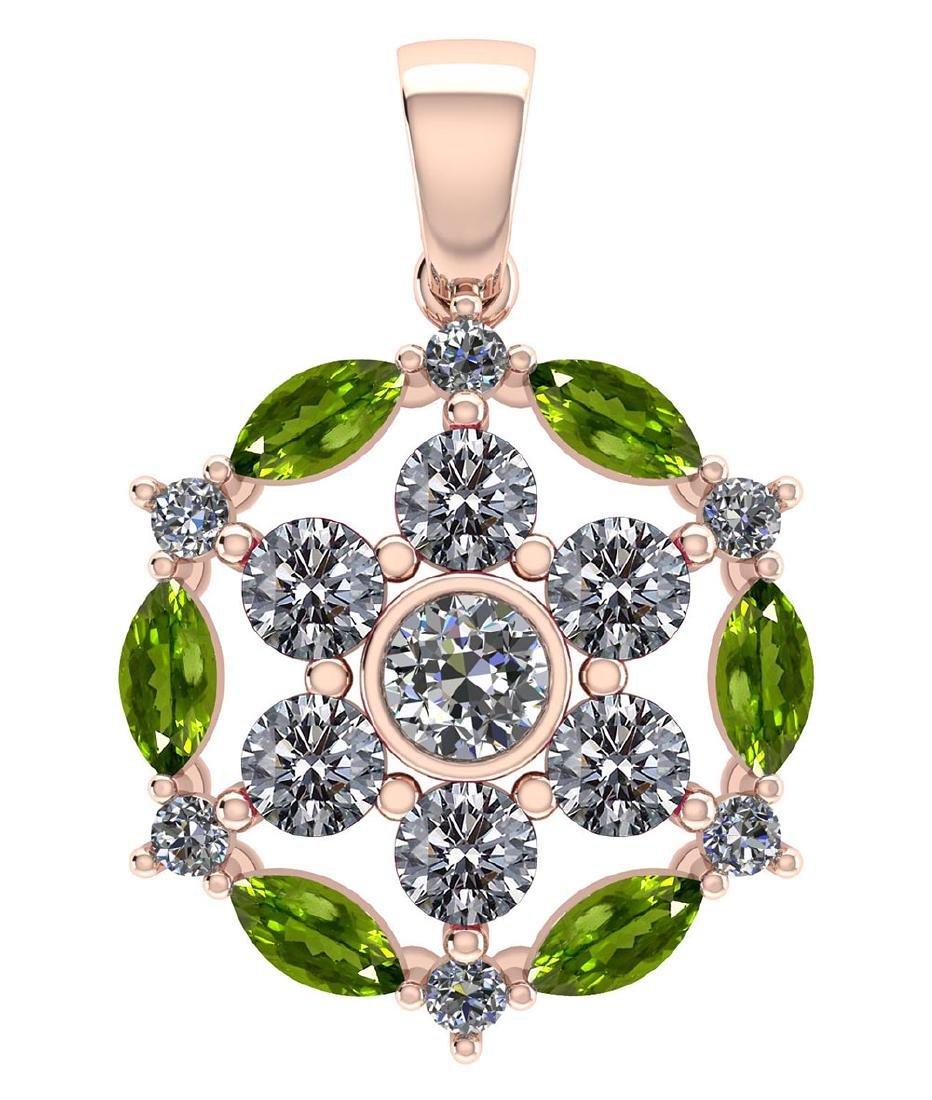 Certified 1.30 CTW Genuine Peridot And Diamond 14K Rose