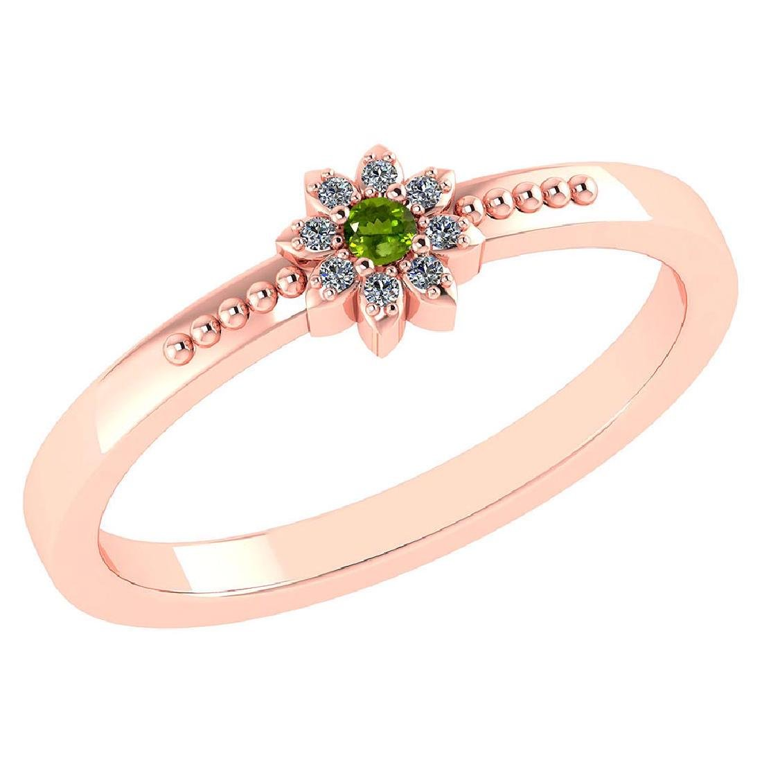 Certified .07 Ctw Genuine Peridot And Diamond 14k Rose