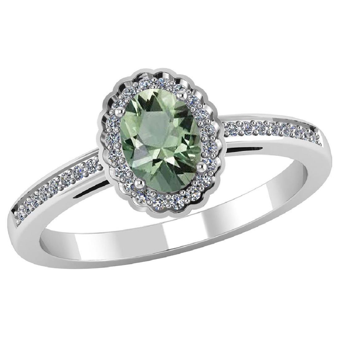 Certified 1.50 CTW Genuine Green Amethyst And Diamond 1