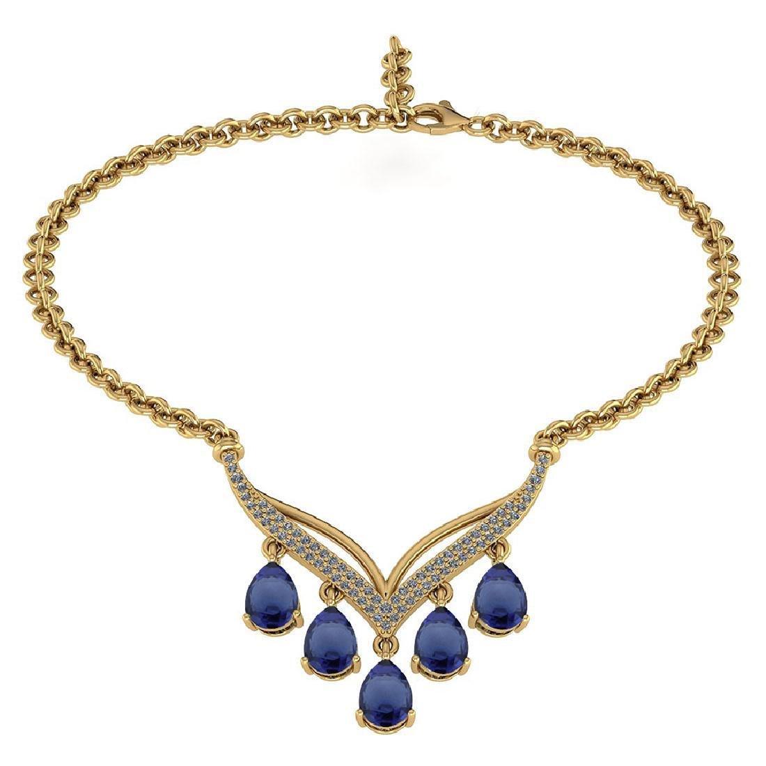 Certified 4.19 CTW Genuine Blue Sapphire And Diamond 14