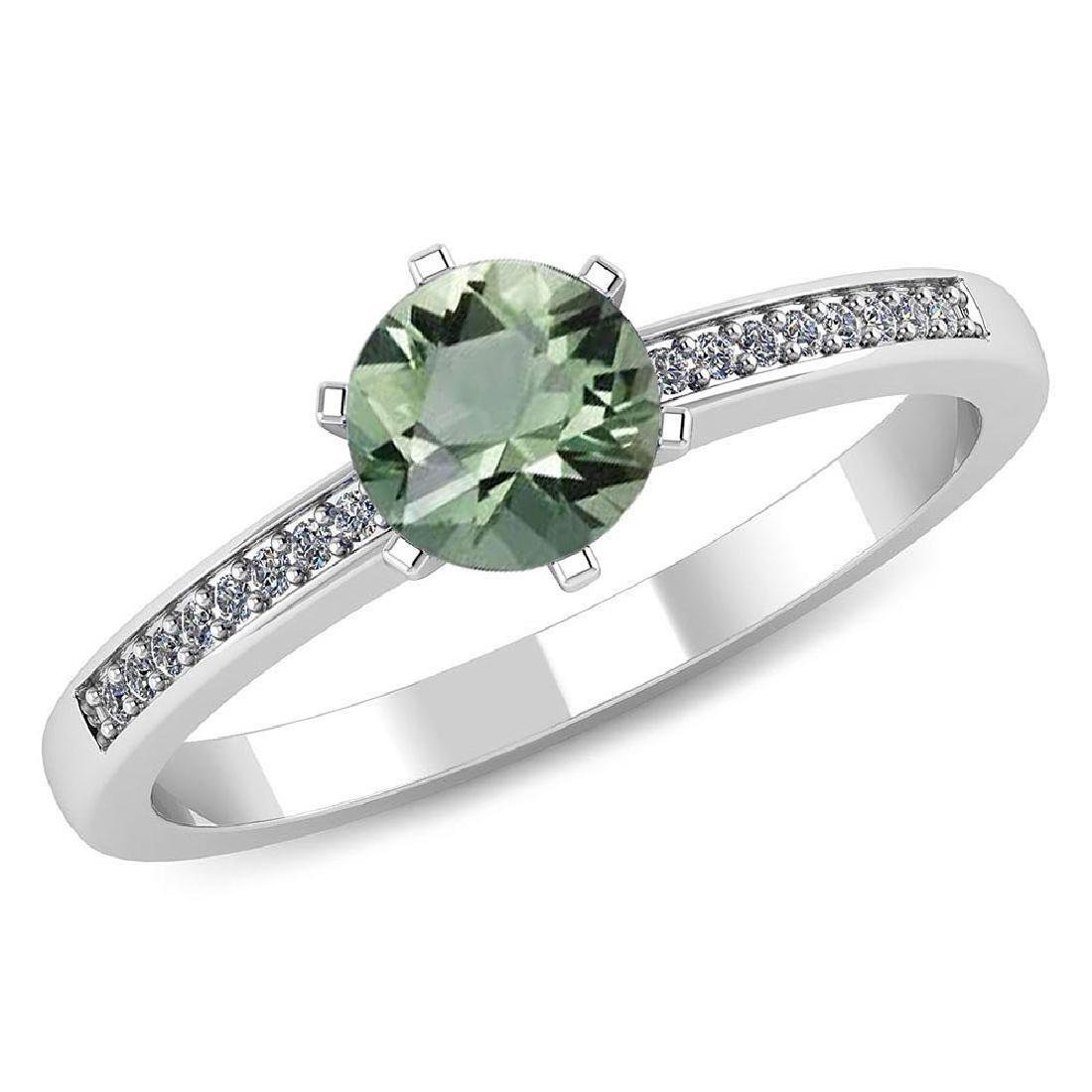 Certified 1.00 CTW Genuine Green Amethyst And Diamond 1
