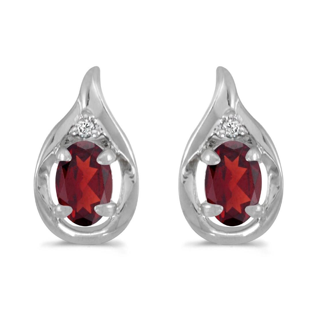 Certified 14k White Gold Oval Garnet And Diamond Earrin