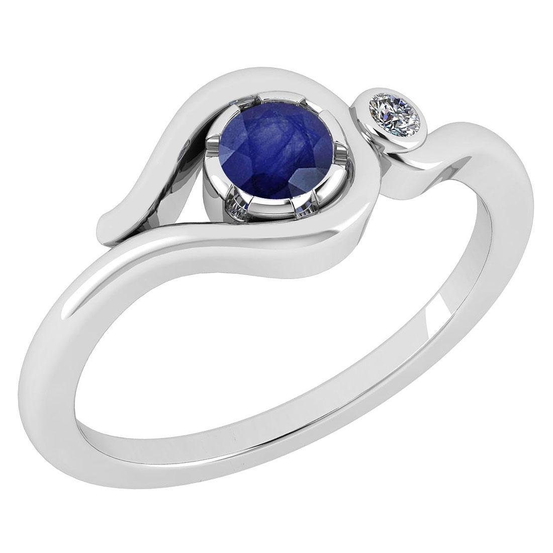 Certified 0.28 Ctw Blue Sapphire And Diamond 14K White