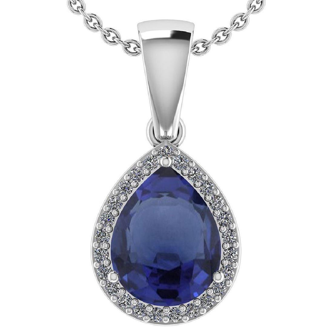 Certified 2.12 Ctw Blue Sapphire And Diamond 14k White