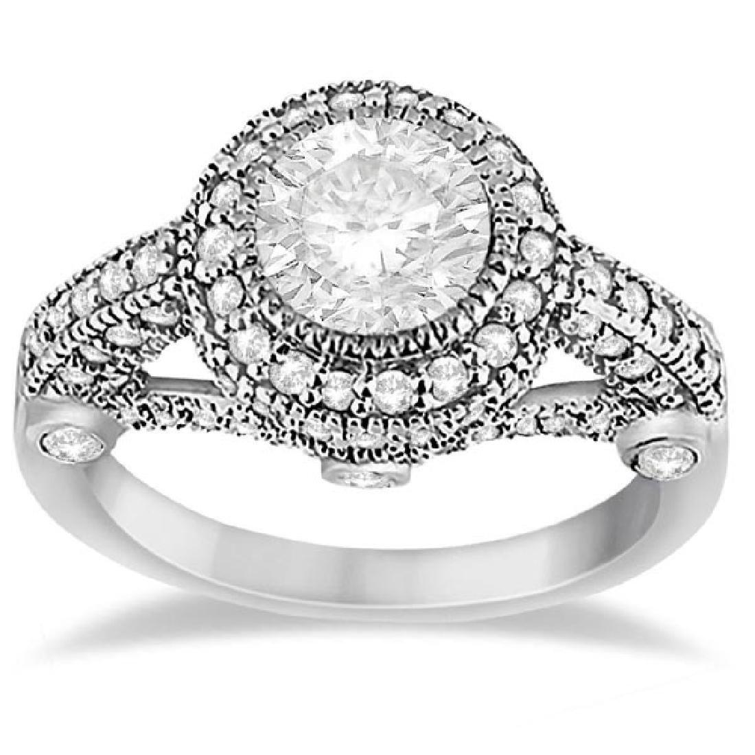 Vintage Diamond Halo Art Deco Engagement Ring Platinum
