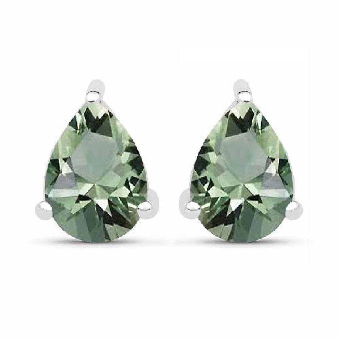 4.10 CTW Genuine Green Amethyst And 14K White Gold Earr