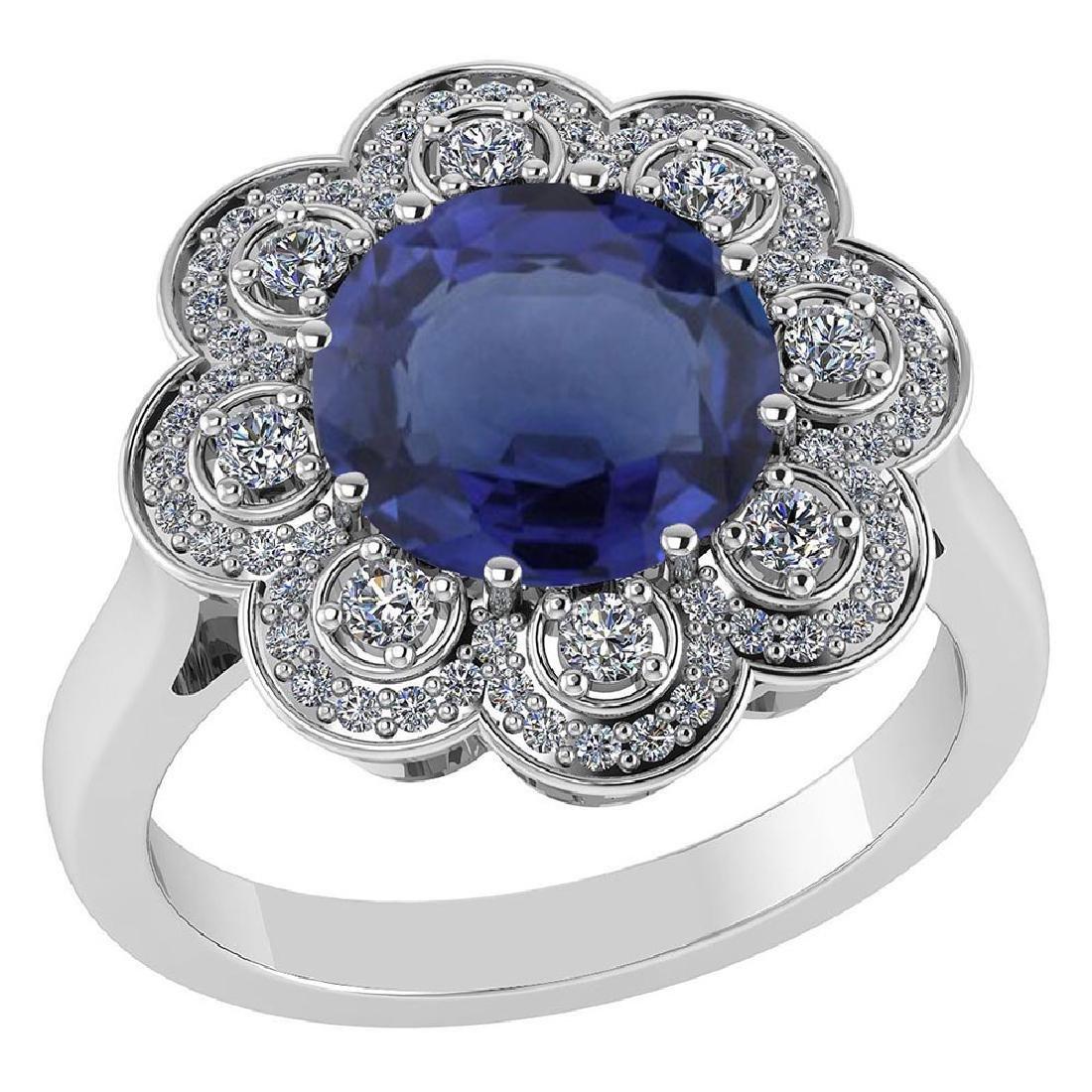 Certified 4.42 CTW Genuine Blue Sapphire And Diamond 14