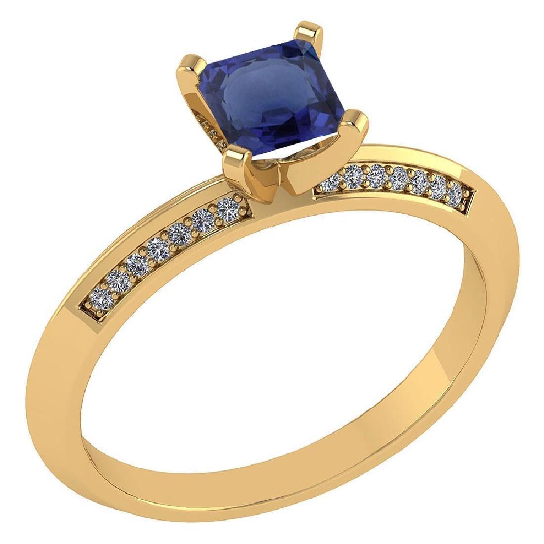 Certified .89 CTW Genuine Blue Sapphire And Diamond 14K