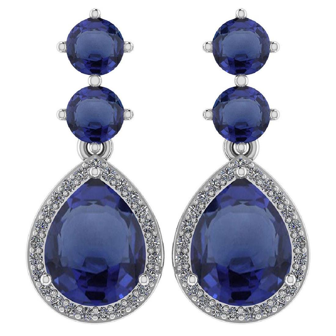 Certified 5.17 Ctw Blue Sapphire And Diamond 14k White