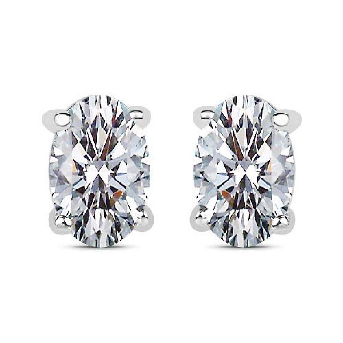 Certified 1.00 CTW Oval Diamond 14K White Gold Earring