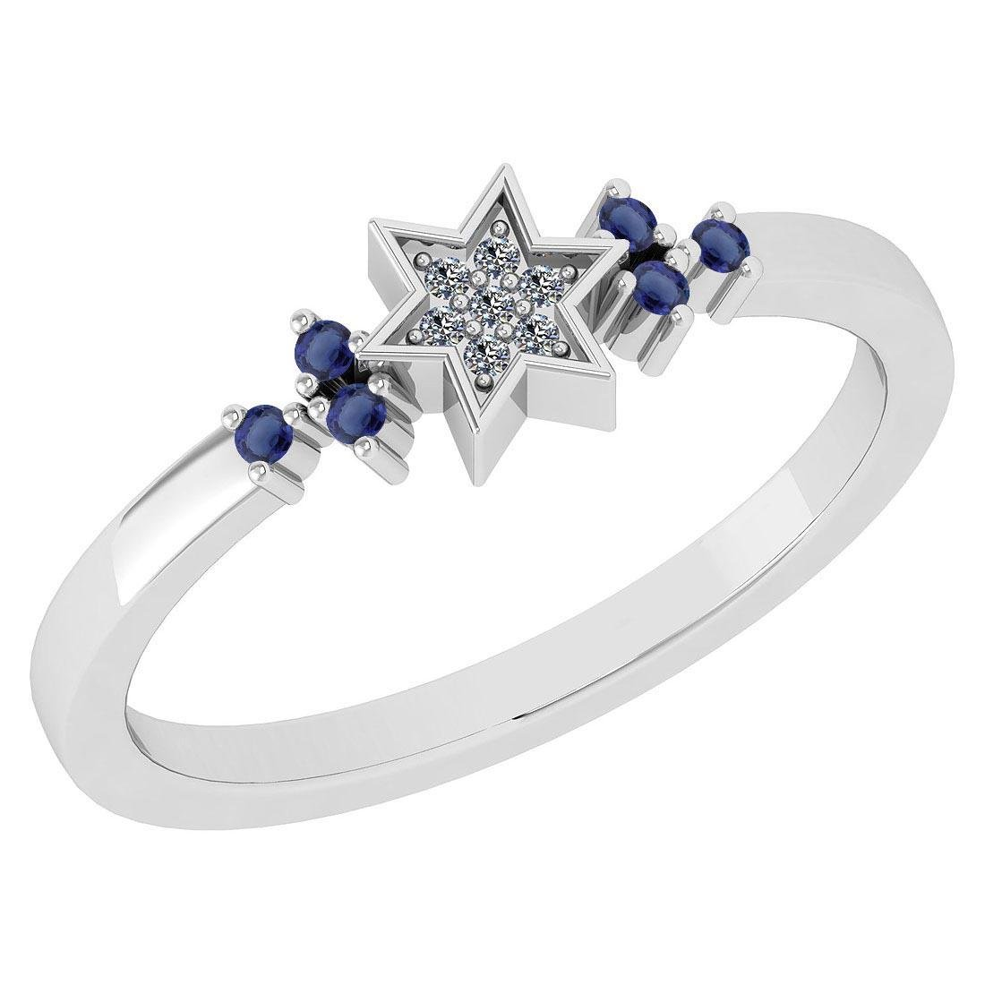 Certified 0.10 Ctw Blue Sapphire And Diamond 14k White