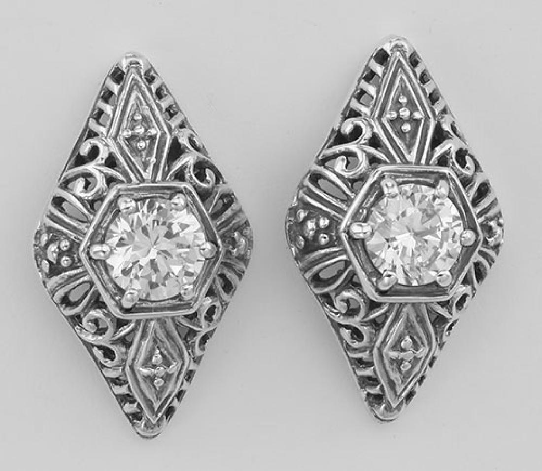 Classic Art Deco Style Filigree CZ Earrings - Sterling