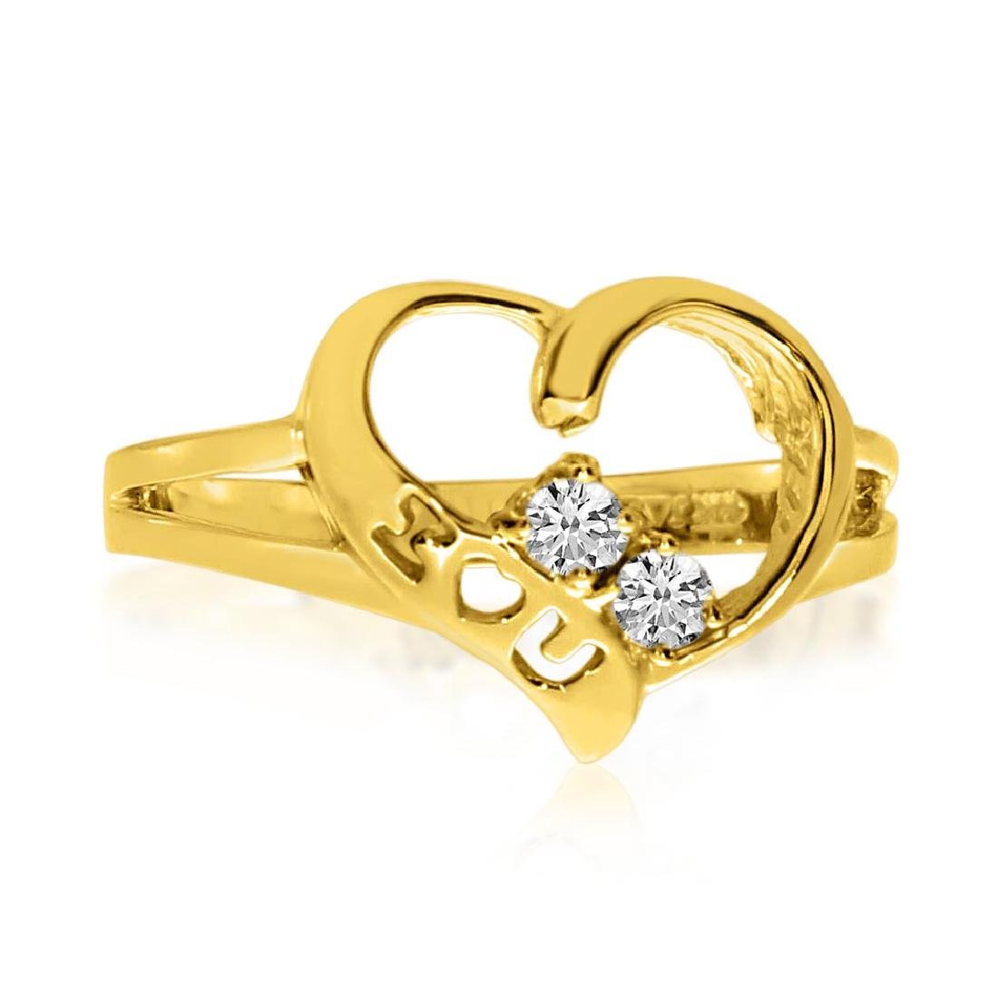 Certified 14K Yellow Gold I Love You Two-Stone Diamond