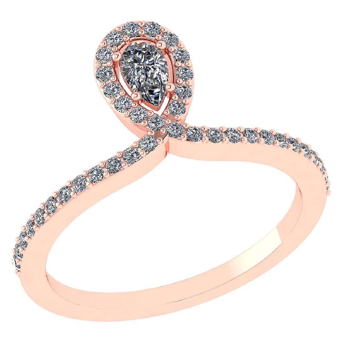 0.57 Ctw Pear Cut Diamond 14k Rose Gold Halo Ring VS/SI