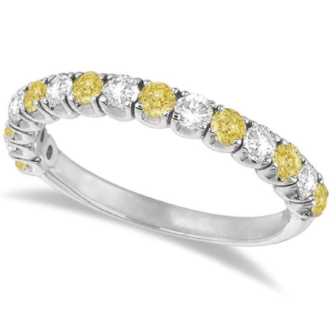Yellow Canary and White Diamond Anniversary Band 14k Wh