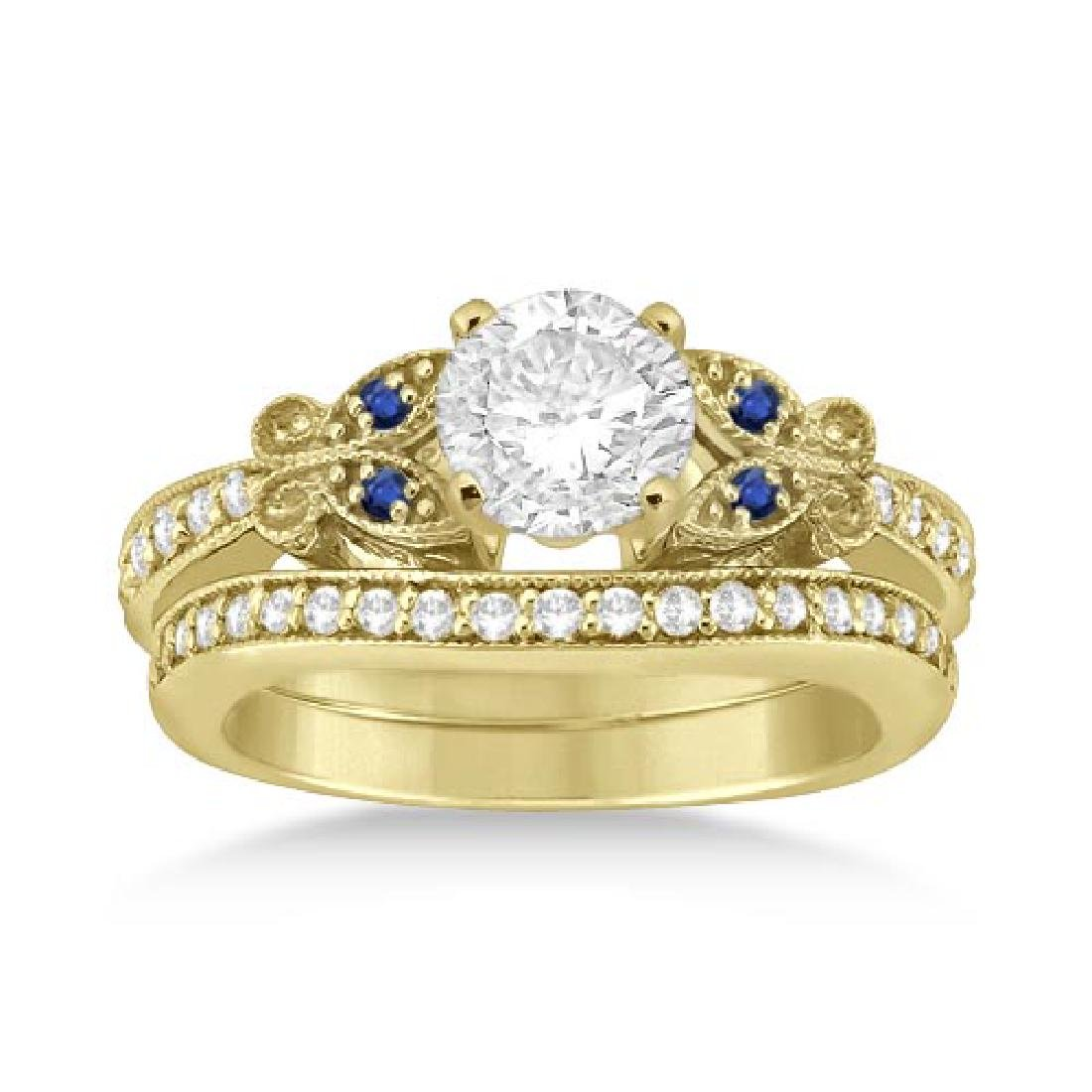 Butterfly Diamond and Blue Sapphire Bridal Set 14k Yell