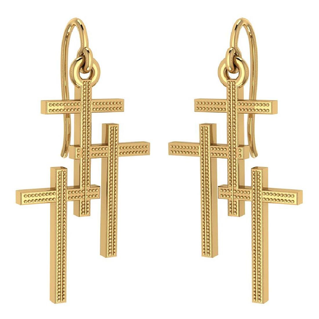 Holy Cross Wire Hook Earrings 18k Yellow Gold MADE IN I