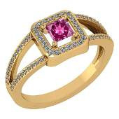 Certified 061 Ctw Pink Tourmaline And Diamond 14k Yell