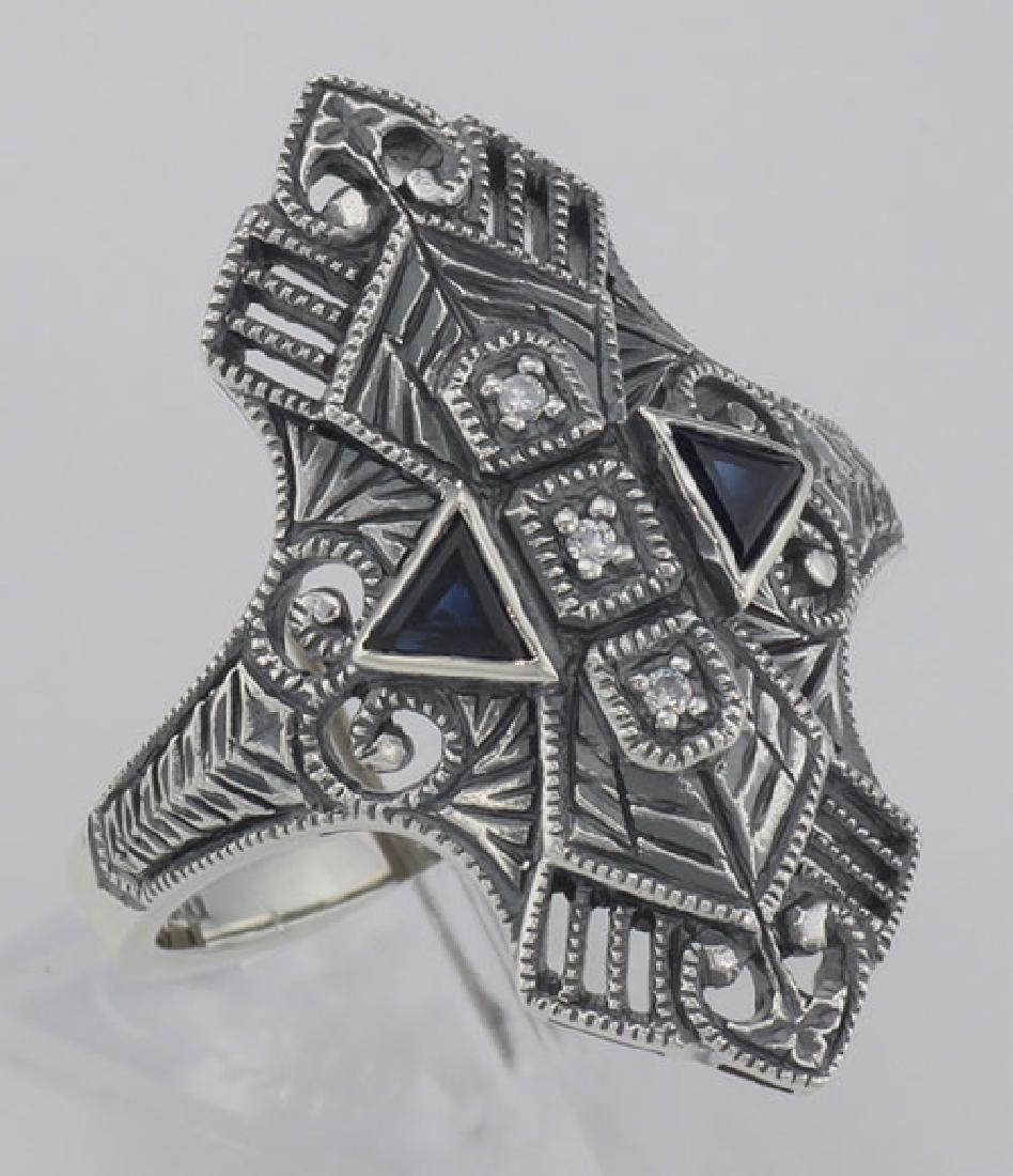 Art Deco Style Filigree Ring w/ Sapphires / 3 Diamonds